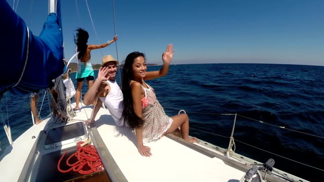 group of young people having fun on yacht - wealth stock videos & royalty-free footage