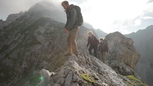 Group of young people hiking in the alps