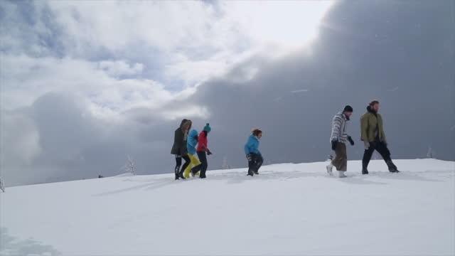 山の設定でアクロバティックなヨガを実行する若い人たちのグループ - ウィンターコート点の映像素材/bロール