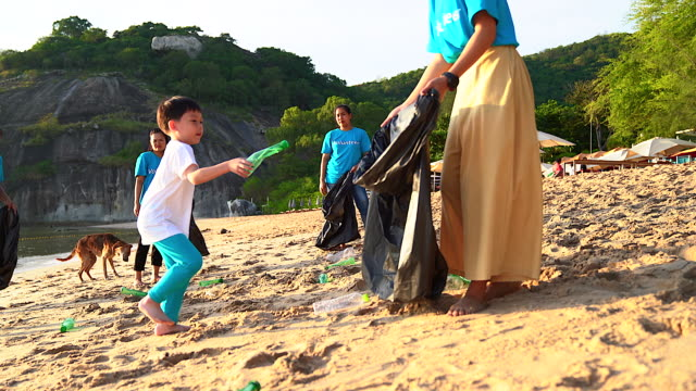 group of young volunteers helping to keep nature clean and picking up the garbage from a sandy shore. - collection stock videos & royalty-free footage