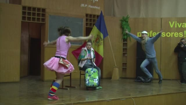 a group of young volunteers in moldova are fighting to prevent human trafficking through forum theatre voiced moldova fights human trafficking with... - moldova stock videos and b-roll footage