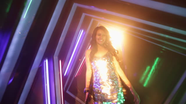 group of young woman entering in a nightclub - dress stock videos & royalty-free footage