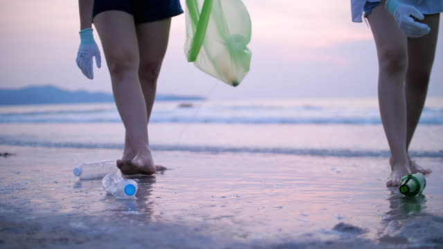group of young woman picking up plastic bottles on the beach , recycle concept - altruism stock videos & royalty-free footage