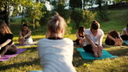 Group of young women stretching her legs on yoga mat in park on summer