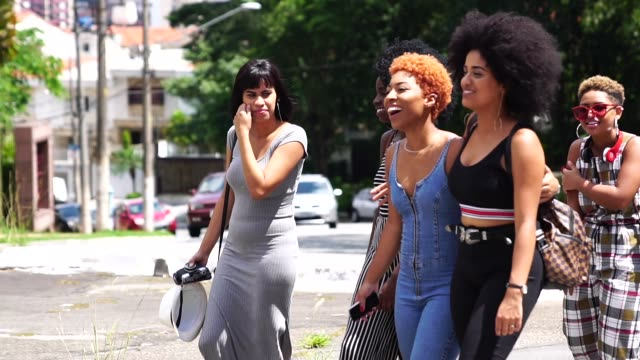 group of young women walking in the street - fidanzata video stock e b–roll