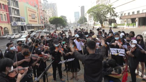 """vídeos de stock e filmes b-roll de group of youth-led musicians called """"generation z mm"""" in myanmar's yangon showcase their new protest song simple titled """"revolution"""", aimed at... - generation z"""