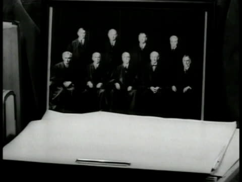 Group photograph of Justices of the Supreme Court standing on desk Justice George Sutherland walking out of building getting into car Justice Pierce...