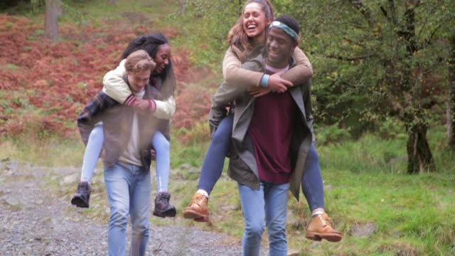 group piggyback in lakes district - carefree stock videos and b-roll footage