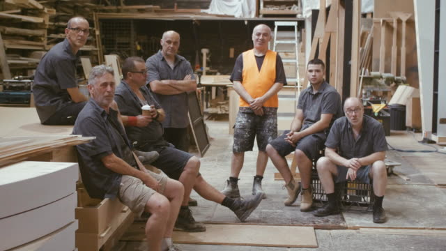 group portrait of carpenters (slow motion) - carpenter stock videos & royalty-free footage