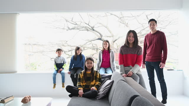 group portrait of chinese family with four children - 12 13 years stock videos & royalty-free footage