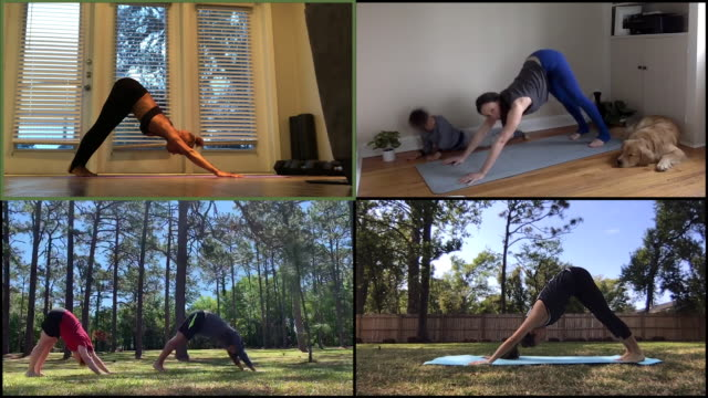 group practices yoga together on a video call - competition stock videos & royalty-free footage