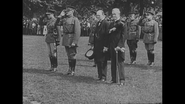 group shot edward prince of wales with us general john j pershing british secretary of state for air winston churchill and us ambassador to the uk... - winston churchill stock videos & royalty-free footage