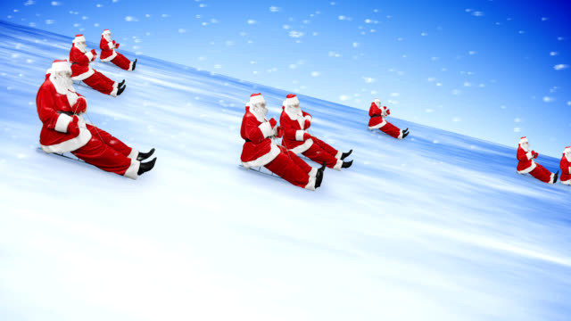 groupe of santa clauses celebrate new year 2013 - negative emotion stock videos & royalty-free footage