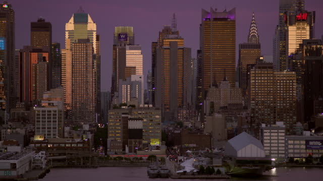 Grouping of skyscrapers and city life at dusk