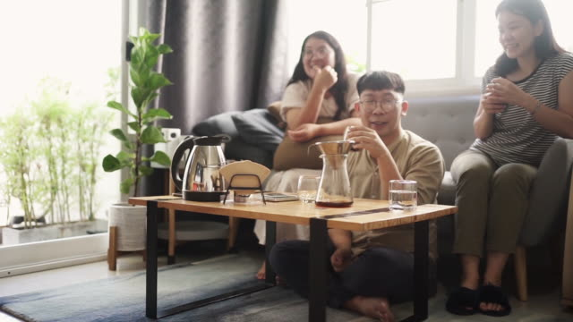 groups of asian young adult feeling relax making and driping coffee for drink  and activity or hobby at home - coffee drink stock videos & royalty-free footage
