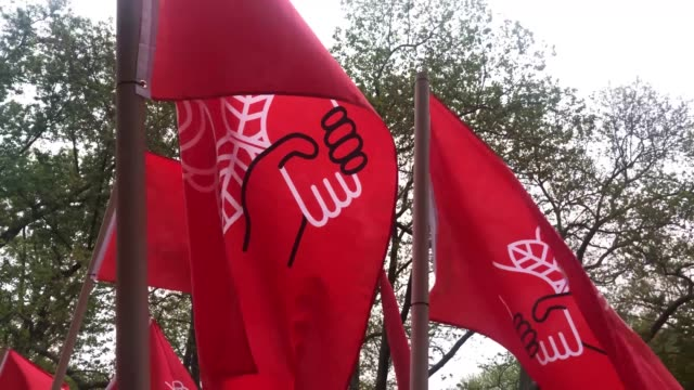 groups of socialists participate in a protest outside of a trump owned building on may day on may 01 2019 in new york city around the country and the... - may day international workers day stock videos & royalty-free footage