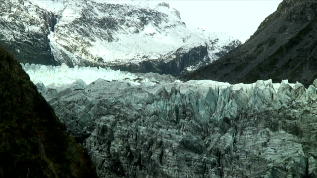 ws groups of tourists on fox glacier, westland national park, new zealand - new zealand stock-videos und b-roll-filmmaterial