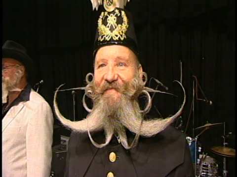 growing facial hair can be an art form as these guys prove annually in the world beard and mustache champsionships. - moustache stock videos & royalty-free footage