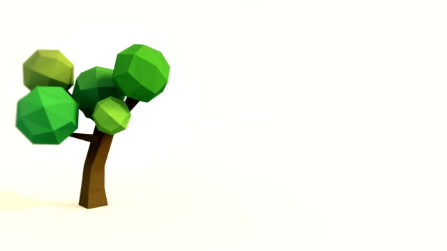 growing lowpoly tree - illustration stock videos & royalty-free footage