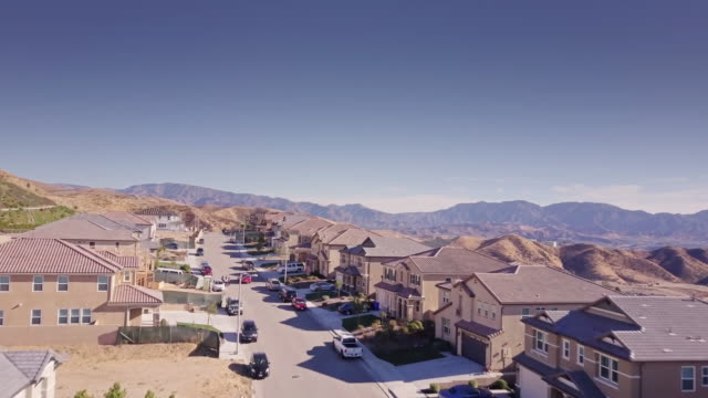 growing suburbs  - aerial view - santa clarita stock videos & royalty-free footage