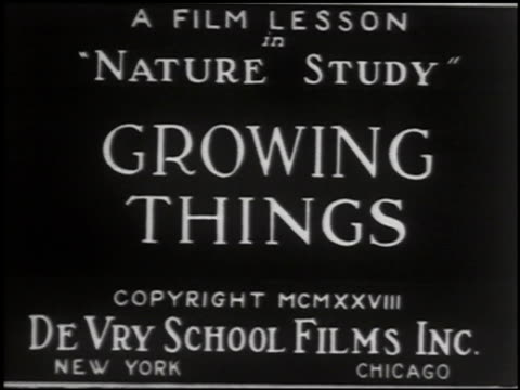 growing things: a film lesson in 'nature study' - 1 of 10 - anno 1928 video stock e b–roll