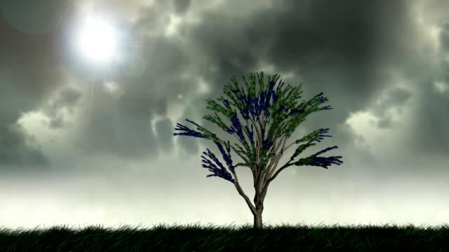 成長の木の日陰での葉アース - 枝点の映像素材/bロール