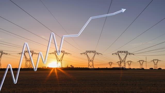 growth curve in 3d design with arrow on a background of power lines in time lapse at sunrise - energy efficient stock videos & royalty-free footage