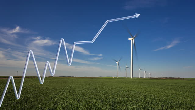 growth curve in 3d design with arrow on a background of wind turbines in time lapse - energy efficient stock videos & royalty-free footage