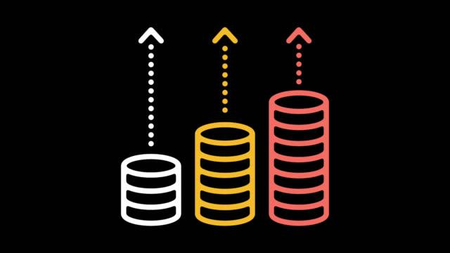 vídeos de stock e filmes b-roll de growth rates line icon animation with alpha - preço