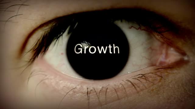 stockvideo's en b-roll-footage met growth written in eye - verschijning