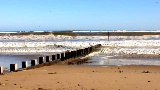 groynes on aberdeen beach and the north sea, scotland - aberdeen scotland stock videos & royalty-free footage