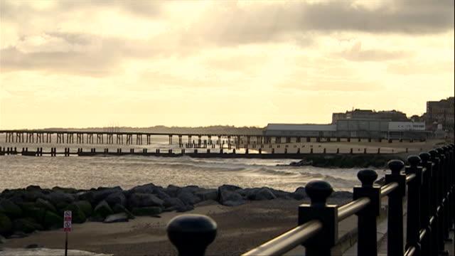 groynes sea defences at lowestoft beach - ローストフト点の映像素材/bロール