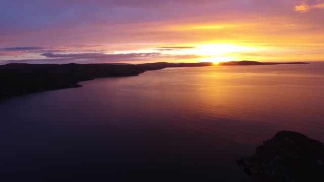 gruinard bay sunset reveal - 1 minute or greater stock videos & royalty-free footage