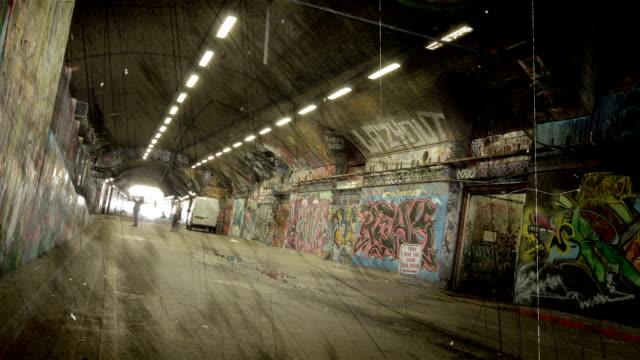 Grunge Graffiti Tunnel time-lapse. HD