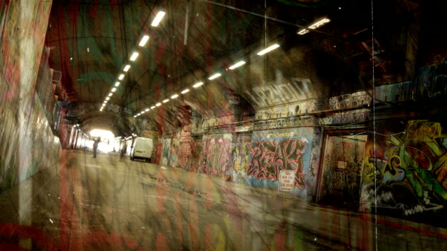 grunge graffiti tunnel time-lapse. hd - graffiti stock videos & royalty-free footage