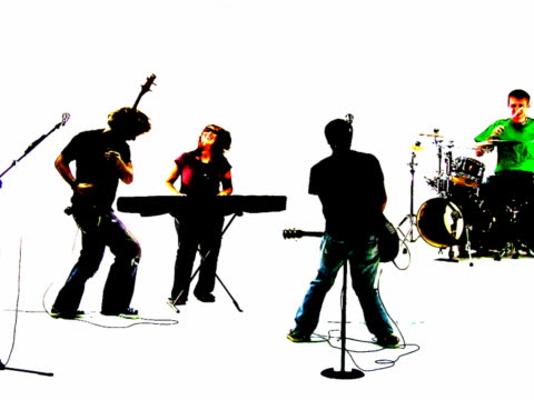 grunge rock band silhouette - head banging stock videos & royalty-free footage