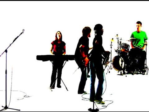 vídeos de stock e filmes b-roll de banda de rock grunge silhueta - bater com a cabeça