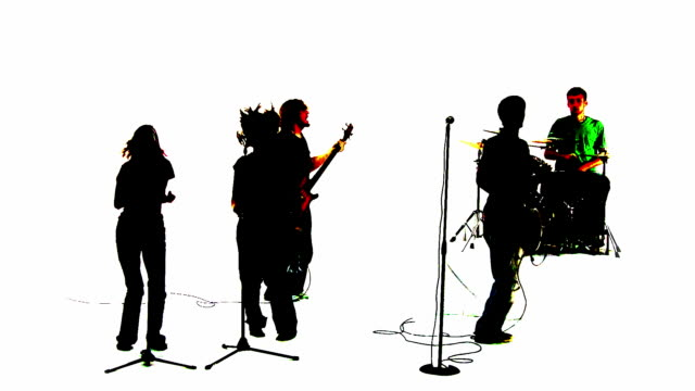 Grunge silhouette of a band throwing hands up