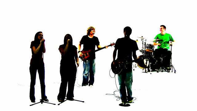 Grunge silhouette der ein Lob band