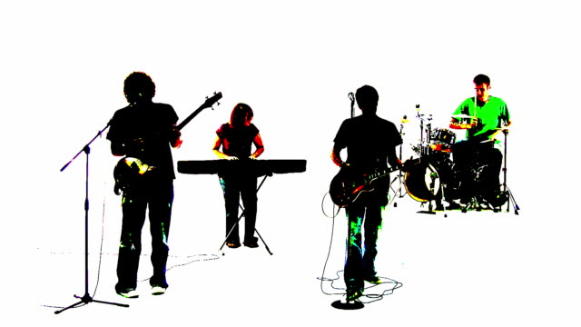grunge style silhouette of a band singing together - performance group stock videos and b-roll footage