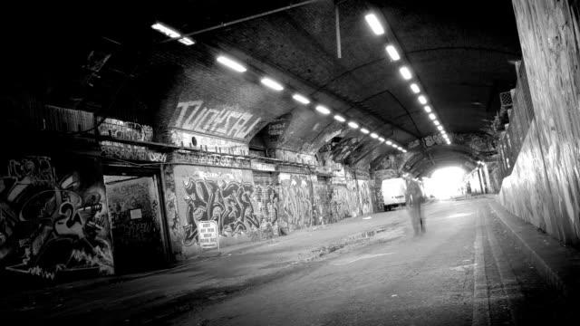 grunge tunnel - loop. hd - graffiti stock videos and b-roll footage