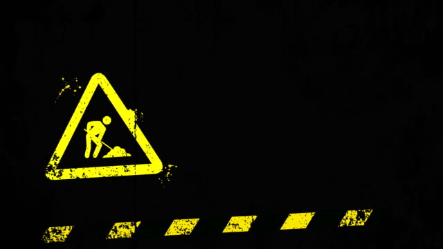 grunge under construction background - warning sign stock videos & royalty-free footage