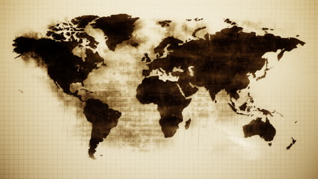 stockvideo's en b-roll-footage met grunge world map hd - sepiakleurig