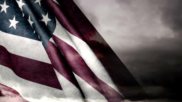 Grungy U.S.A. Flag on Dark Clouds