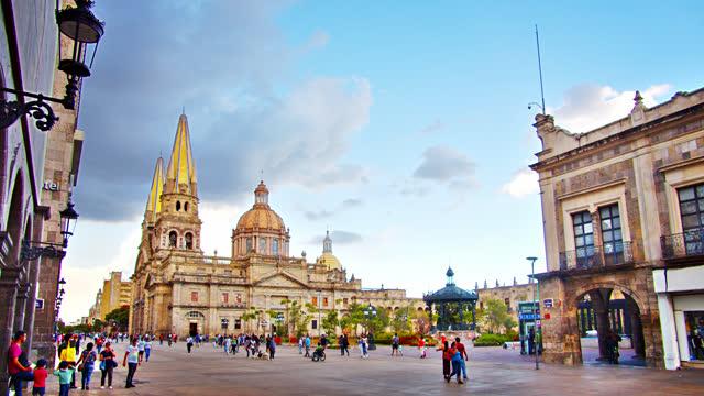 guadalajara. church. historical center - cathedral stock videos & royalty-free footage