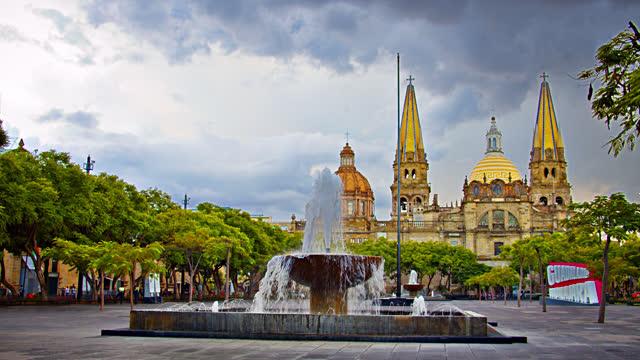 guadalajara. park. church. sign - pagoda stock videos & royalty-free footage