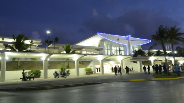 guam usa territory new international airport in hagatna at night exposure - guam video stock e b–roll