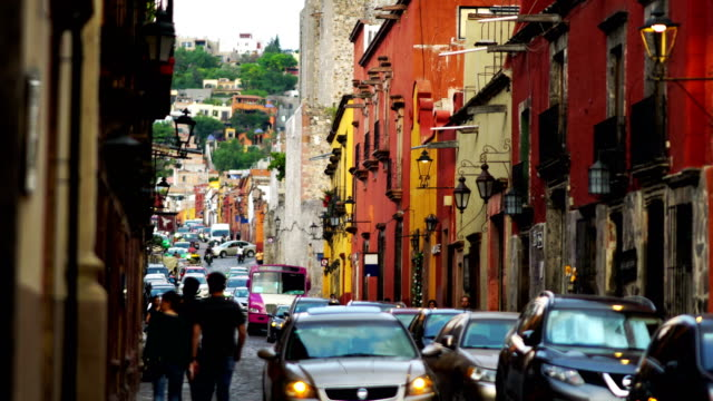 guanajuato colorful streets mexico - narrow stock videos and b-roll footage
