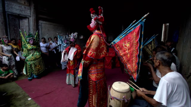 guangchang meng opera, a traditional local drama popular in guangchang county, jiangxi province, is one of the national intangible cultural heritage. - figurine stock videos & royalty-free footage