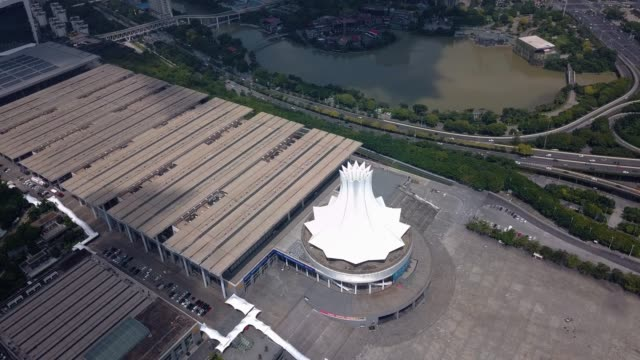 guangxi international convention and exhibition center in nanning, china - tradeshow stock videos & royalty-free footage